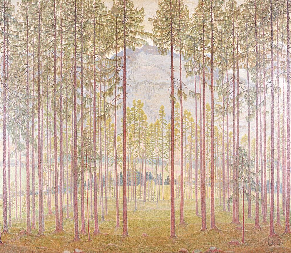 DER LAERCHENWALD 170x 140 cm, Oel auf Holzfaseplatte,1948