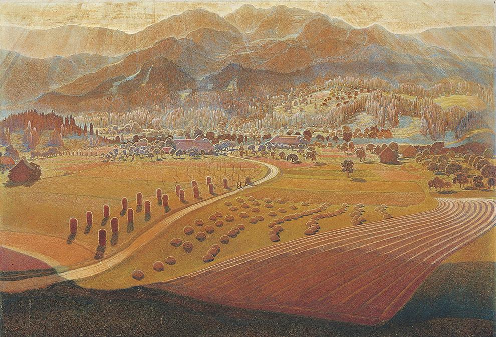 DIE GROSSE LANDSCHAFT 109x160 cm, Oel auf Holzfaseplatte, 1947